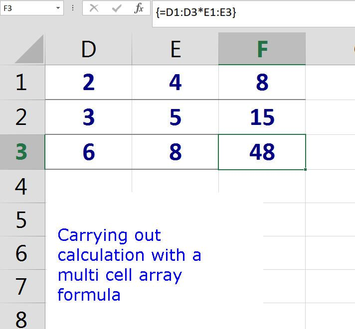 Carrying Out Calculation with a Multi Cell Array Formula in Excel