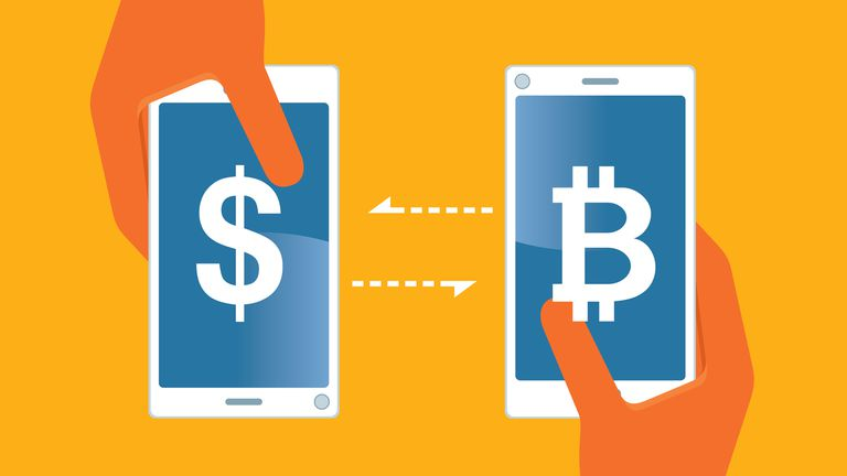 Two mobile phones trading dollars for Bitcoin