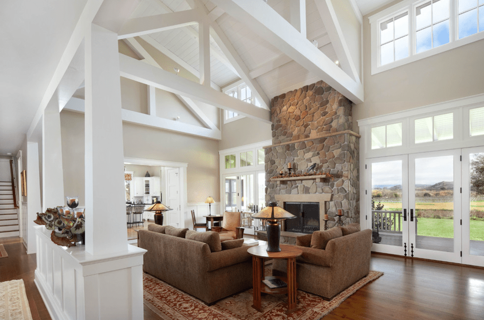 Modern meets rustic living room new home with farmhouse architecture