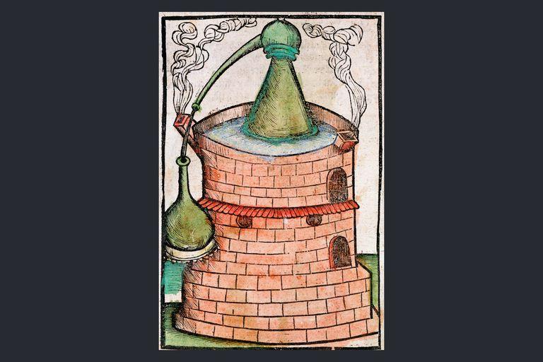 Distillation, 1500. A still in a water bath (bain-marie), showing an alembic