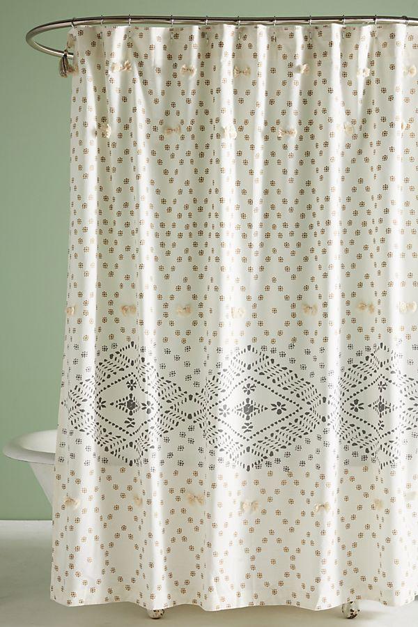 Textured Metallic Detail Shower Curtain Anthropologie