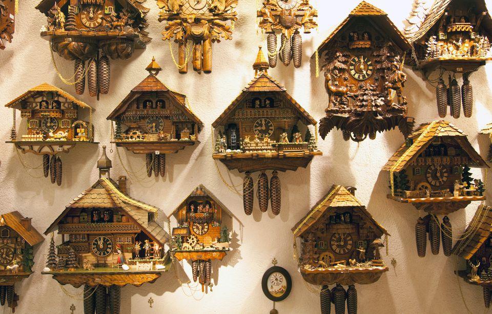 Wall display of cookoo clocks