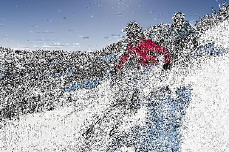 Austria, Salzburg, Young couple skiing on mountain