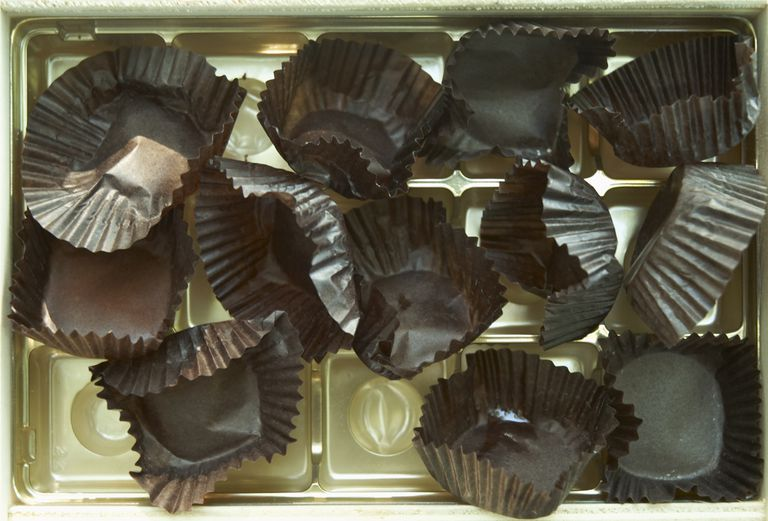 empty chocolate papers in an empty box of chocolates
