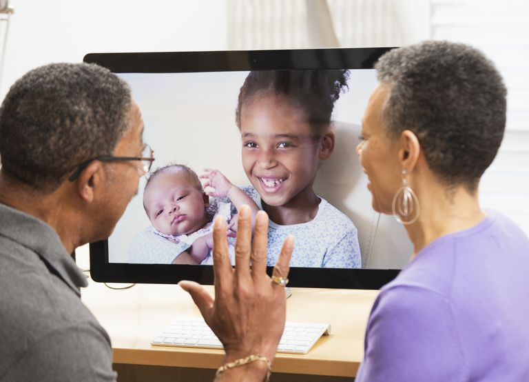 Grandparents videochatting with granddaughters