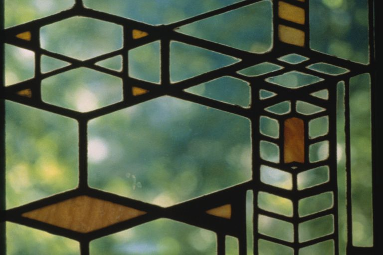 Detail of Stained Glass Window from the Robie House by Frank Lloyd Wright