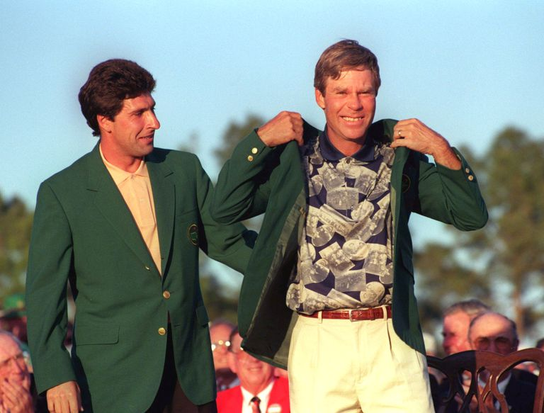 Ben Crenshaw receives the Green Jacket after winning the 1995 Masters.