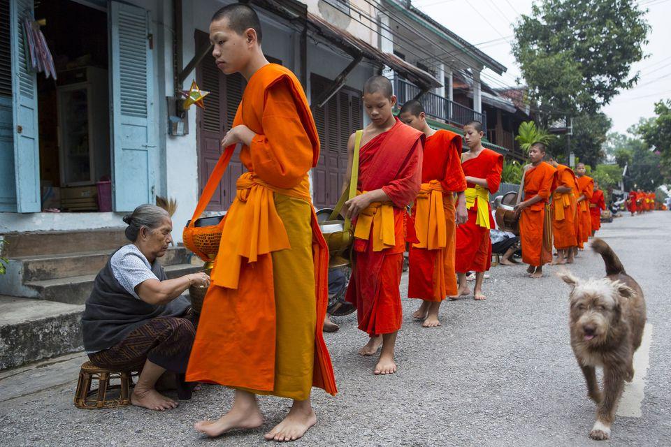 Tak bat ritual in Luang Prabang, Laos