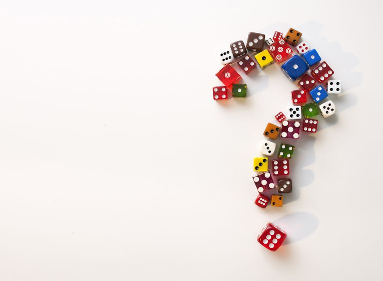 Question mark made of dice