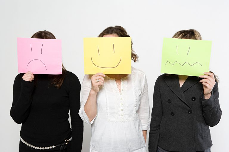 Three women holding papers over their faces with different expressions drawn on