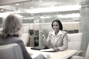 Businesswoman conducting a job interview