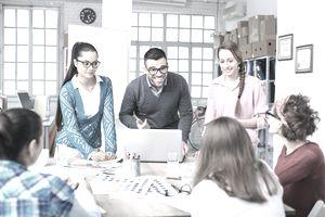 Team meeting in modern workplace