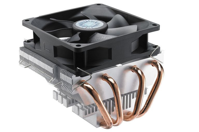 A closeup of the Cooler Master Vortex Plus heatsink and fan, showing four heat pipes on the side
