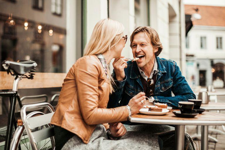 Couple eating dessert