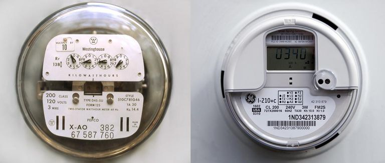 Old, analog meters (left) are being replaced with new, digital smart meters (right).