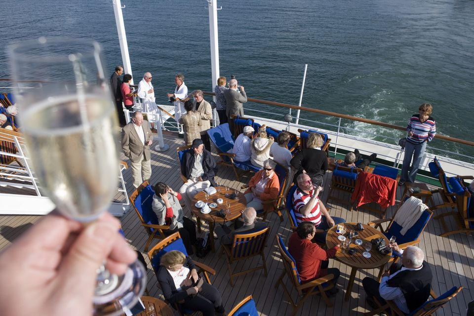 Sail away party on cruise ship