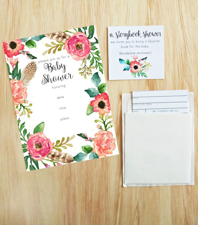 invitation pinterest baby free floral printable shower pin invitations