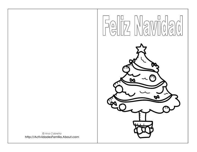 Tarjetas de navidad para imprimir y colorear - Dibujos postales navidad ninos ...
