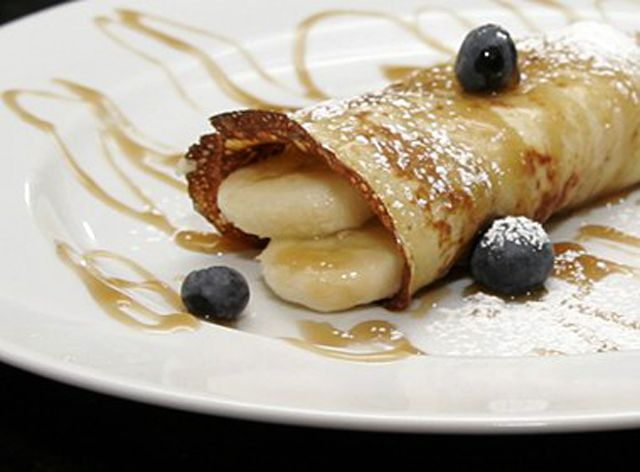 Banana Crepes With Rum Sauce