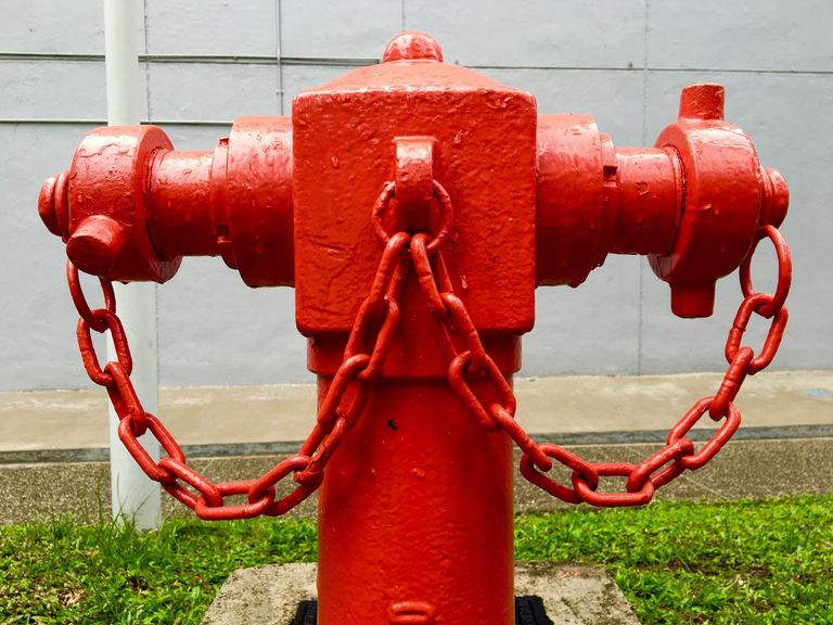Bright red fire hydrant