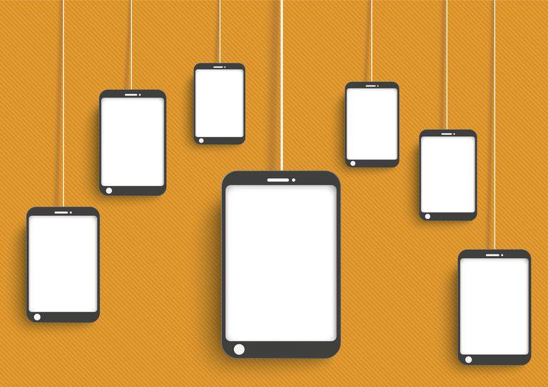 Smartphones dangling on orange background, vector graphics