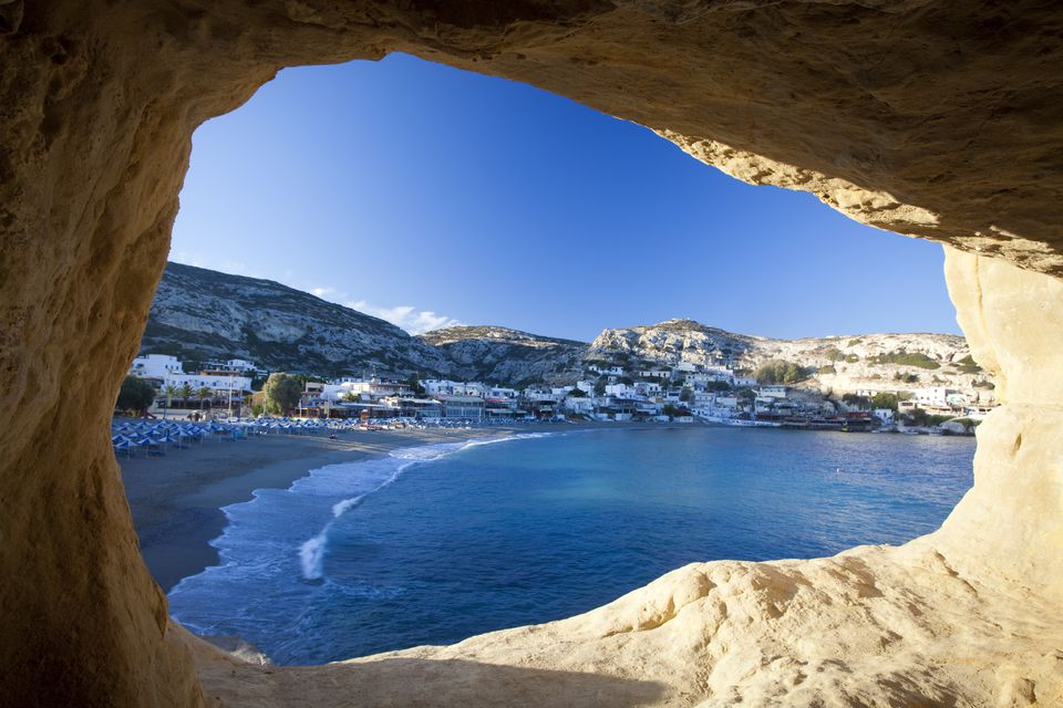 Matala beach seen from a Roman cave