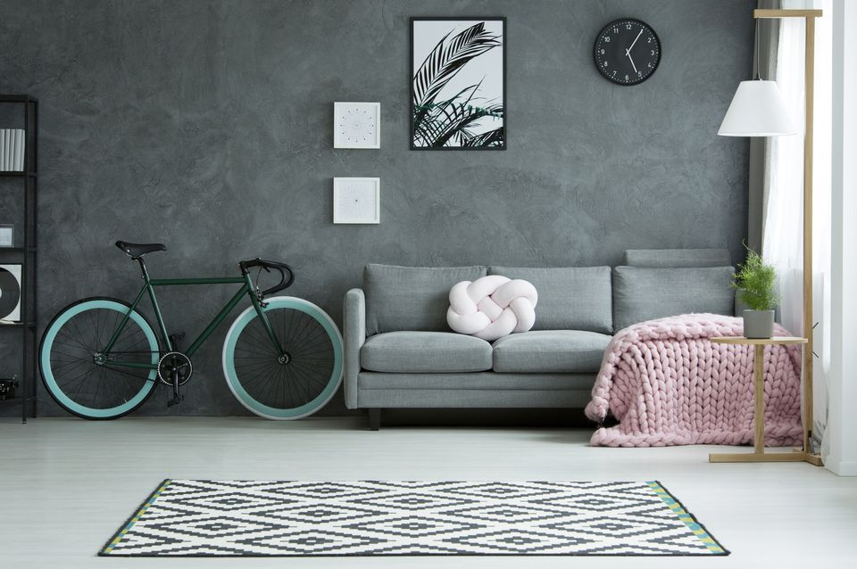 Grey living room with bicycle