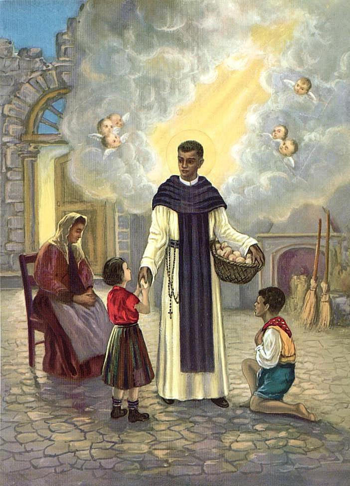Estampa de San Martín de Porres dando limosnas