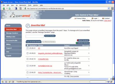 Spam Arrest - Spam Filtering Service