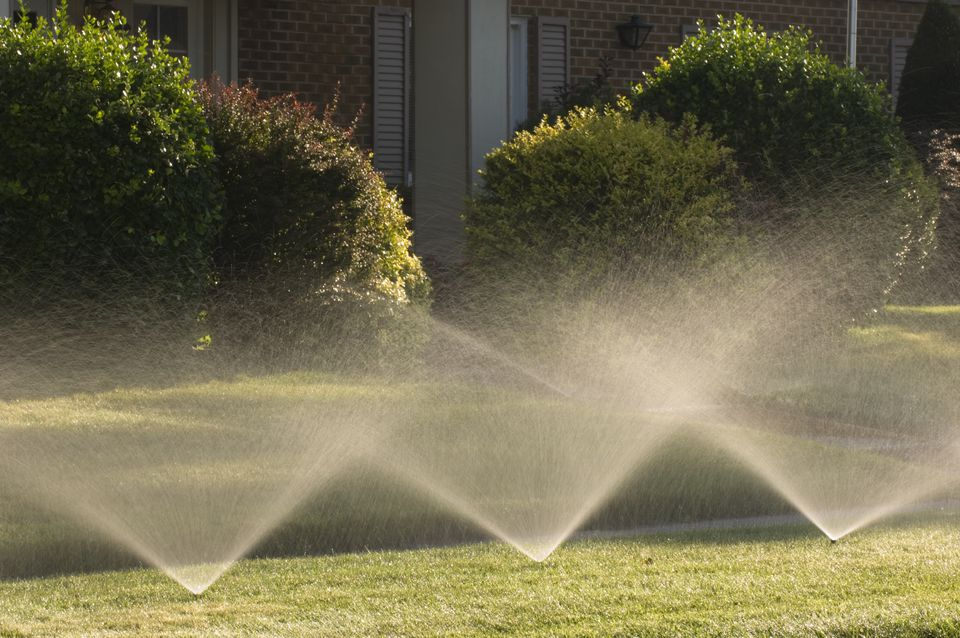 Sprinklers in a lawn in front of a house