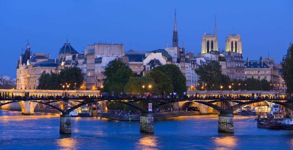 Paris, France, at dusk