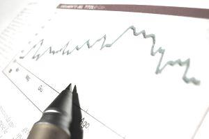 close up of graph analyzing finances