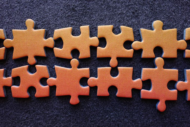 Puzzle pieces lined up
