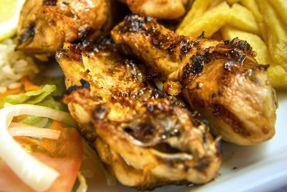 Chicken cooked in piri-piri spice