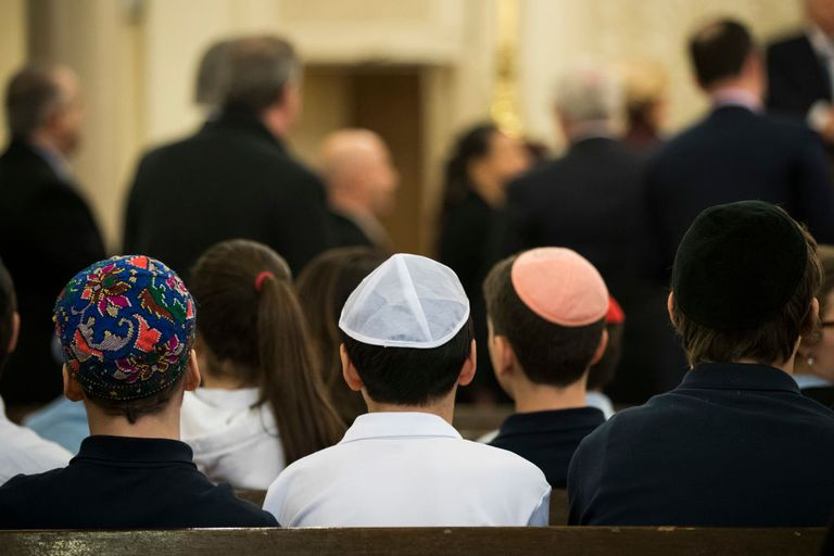 Students from a local Jewish school take their seats to listen to U.S. Rep. Carolyn Maloney (D-NY) speak about the rise in hate crimes against the Jewish and Muslim communities at the Park East Synagogue, March 3, 2017 in New York City.