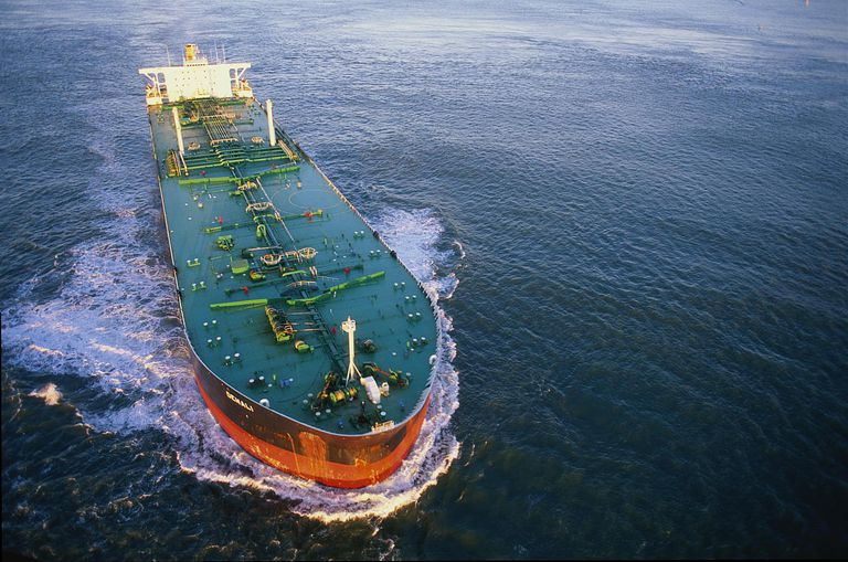 Oil tanker, aerial view, California, USA