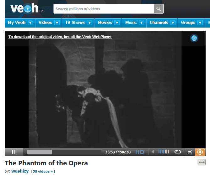 Screenshot of the movie The Phantom of the Opera on Veoh