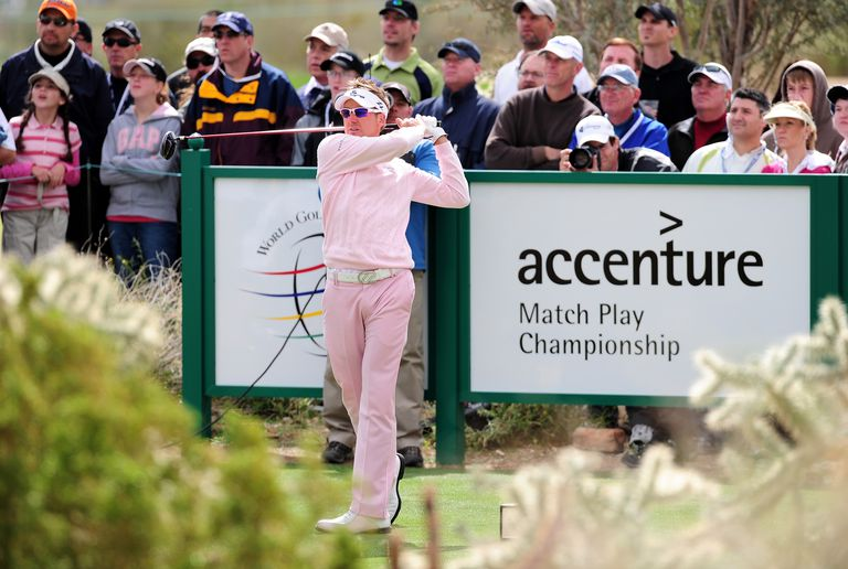 Ian Poulter of England plays his tee shot on the eighth hole during the final round of the Accenture Match Play Championship in 2010