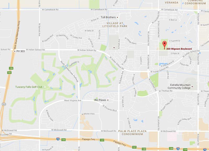 Map to The Wigwam, Litchfield Park, AZ