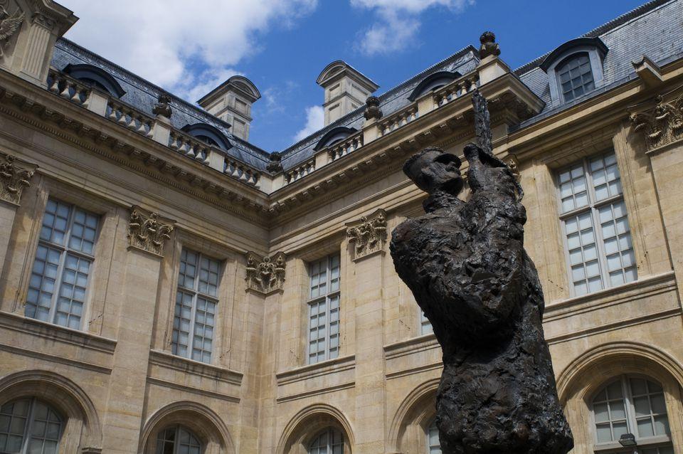 Sculpture in courtyard of Musee d'Art et d'Histoire du Judaïsme in Paris, France