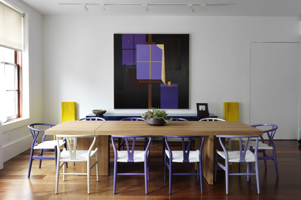 violet chairs informal dining room