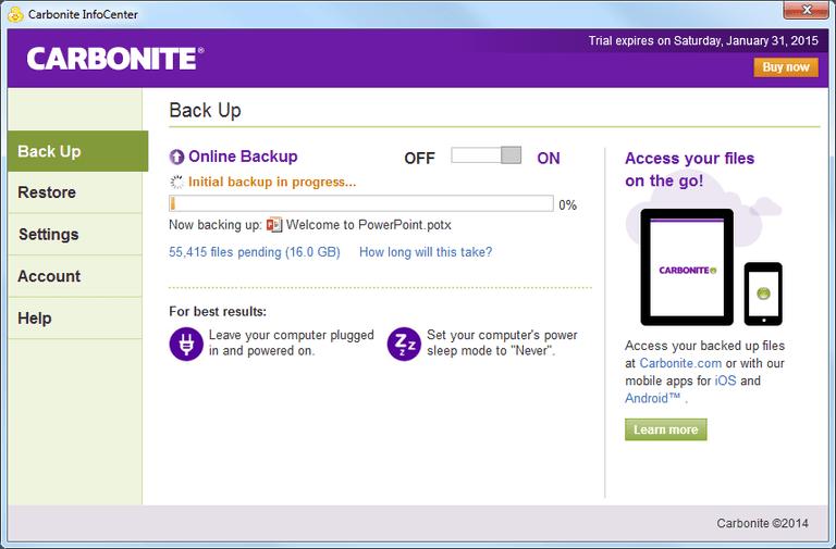 Screenshot of the Carbonite Back Up tab