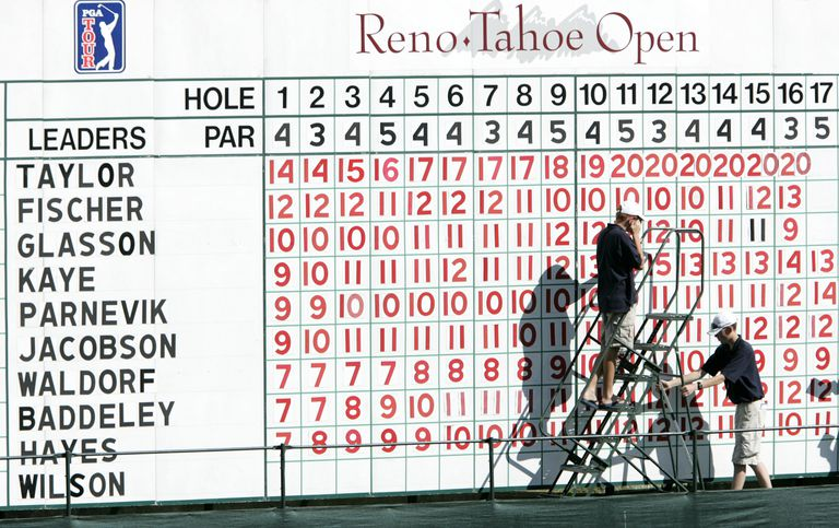 A scoreboard at the Reno-Tahoe Open, a PGA Tour event that used Modified Stableford scoring.