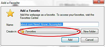 Adding Favorites in IE9 Browser (Tutorial)