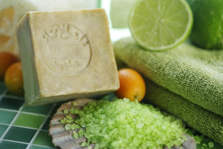 Handmade olive soap and bath utensils