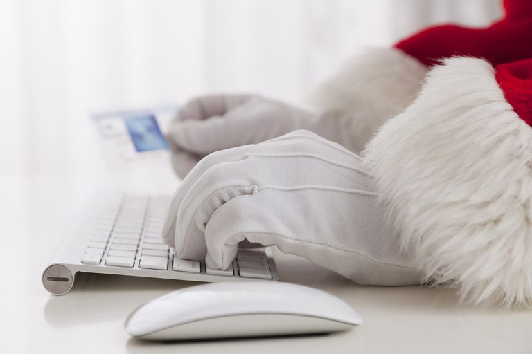 Santa shopping online on Black Friday