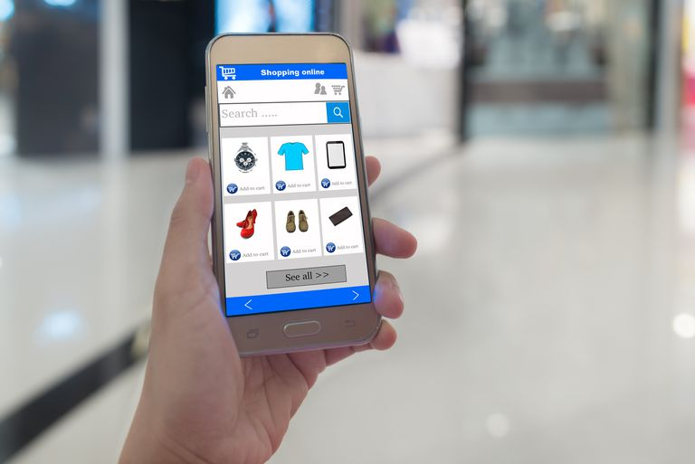 Picture of smartphone with basic shopping items presented.