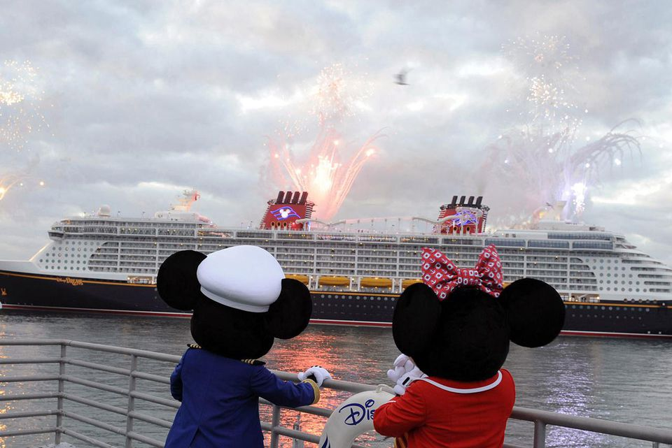 Mickey Mouse and Minnie Mouse welcome the Disney Dream