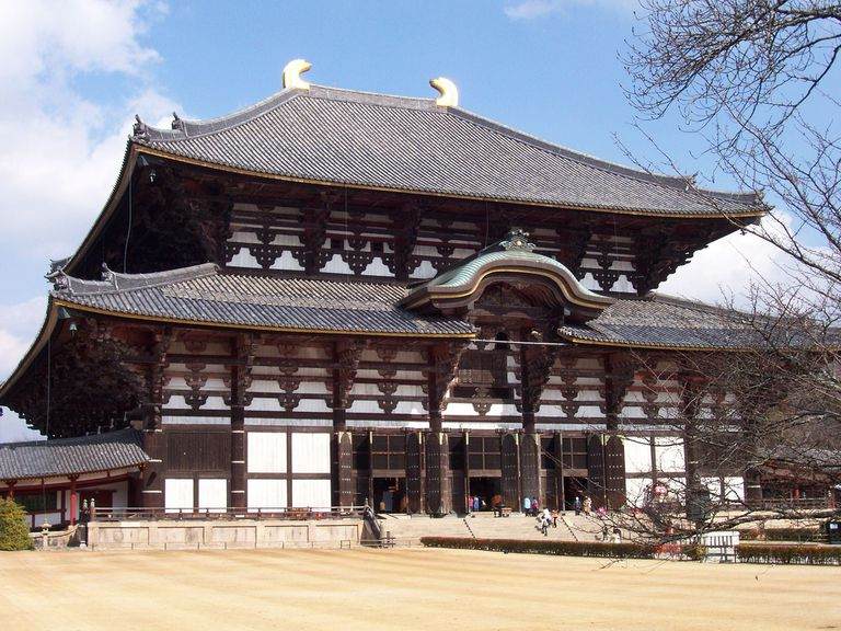 The Todaiji Temple complex in the city of Nara in Nara Prefecture, built in the year 743.