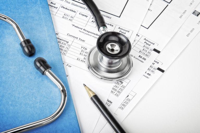 Sheets of medical bills.
